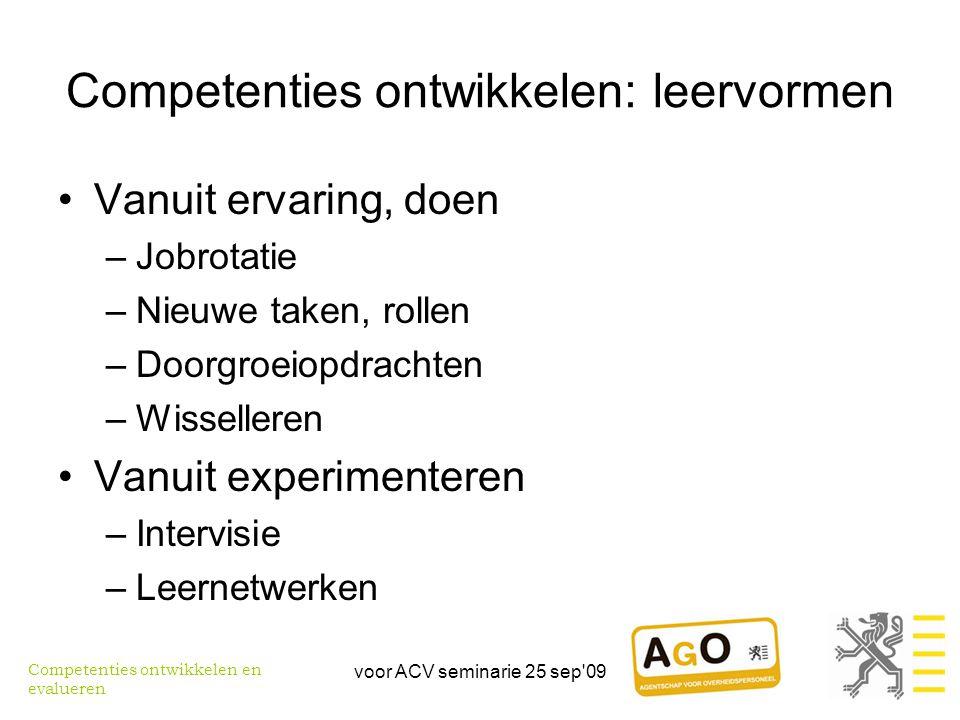 Competenties ontwikkelen: leervormen