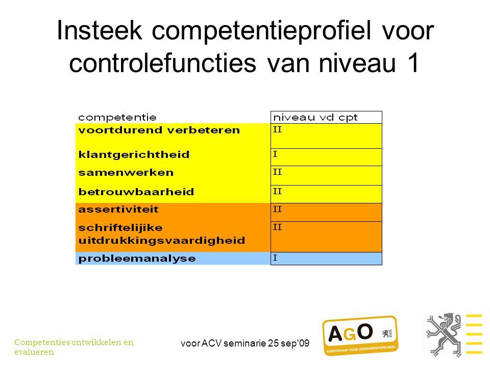 Insteek competentieprofiel voor controlefuncties van niveau 1