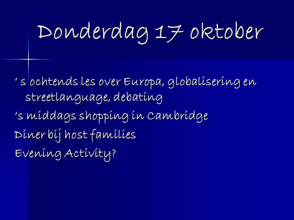 Donderdag 17 oktober