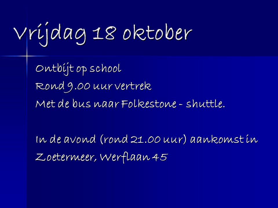 Vrijdag 18 oktober