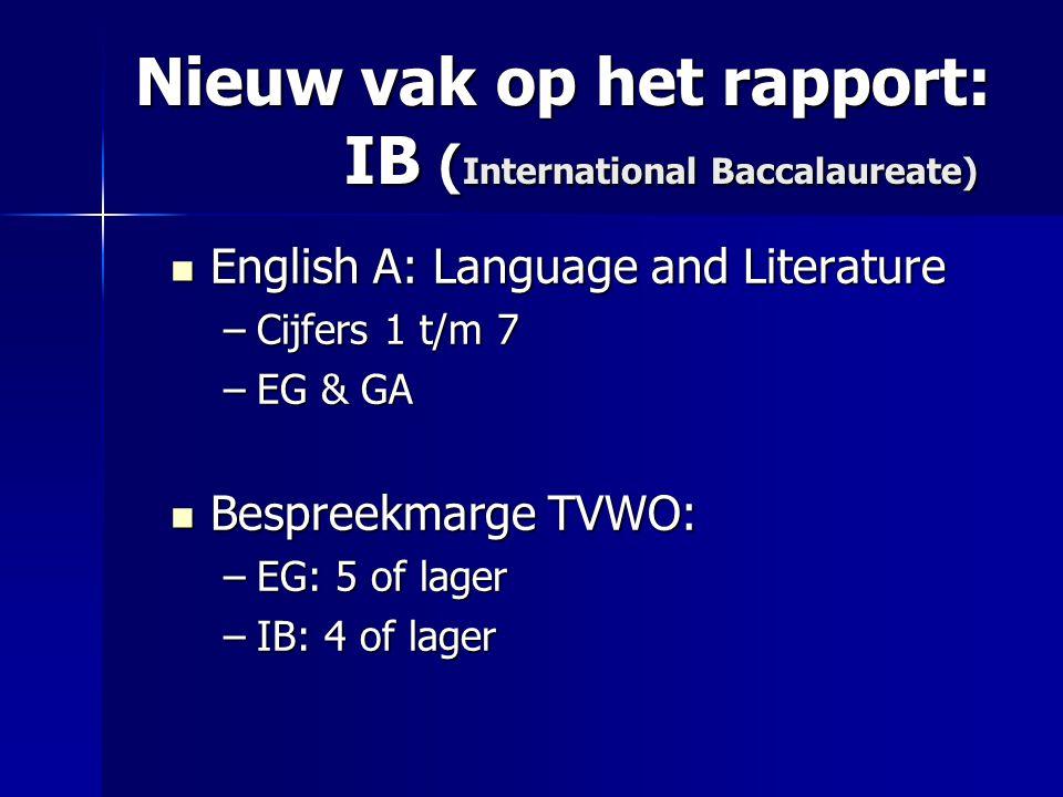 Nieuw vak op het rapport: IB (International Baccalaureate)
