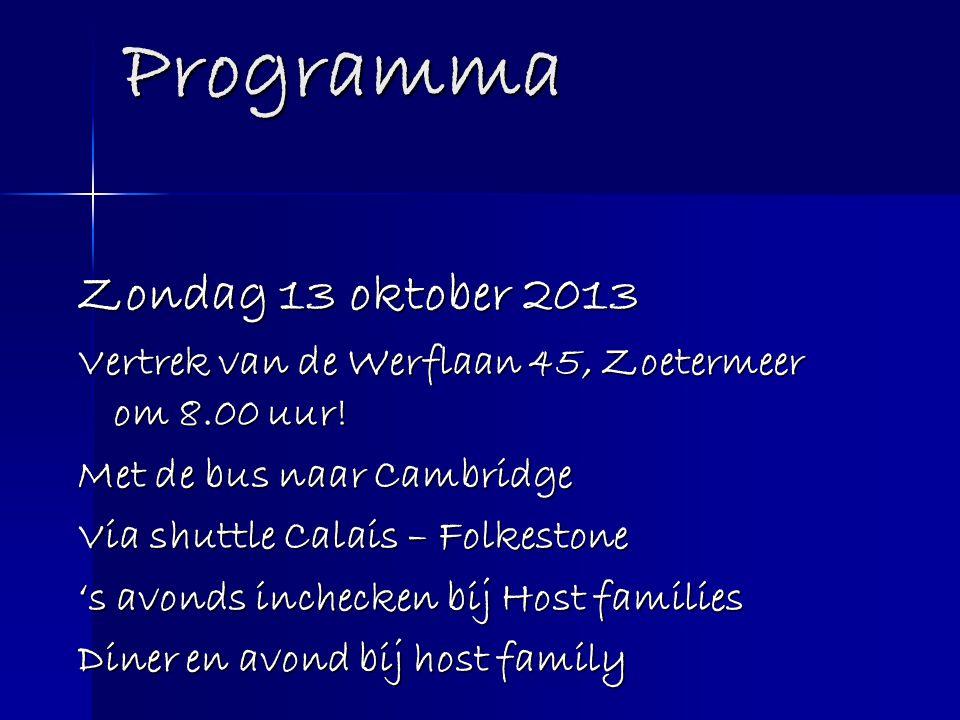 Programma Zondag 13 oktober 2013