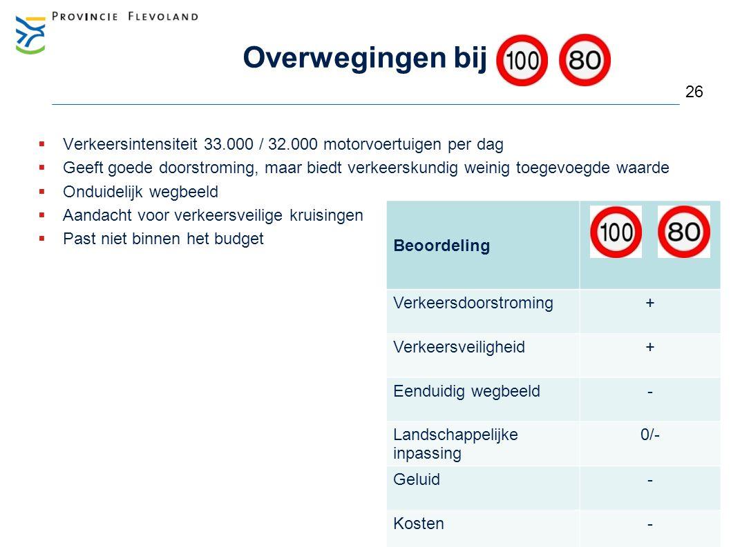 Overwegingen bij 26. Verkeersintensiteit 33.000 / 32.000 motorvoertuigen per dag.