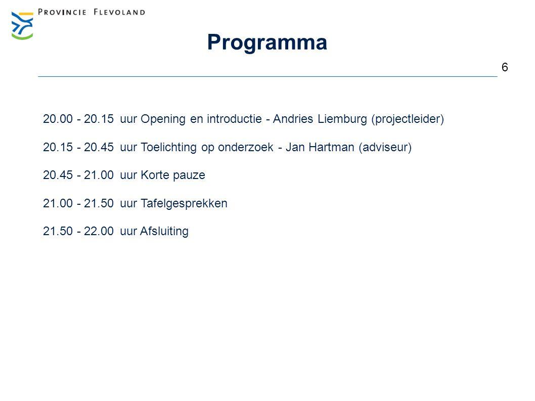 Programma 6. 20.00 - 20.15 uur Opening en introductie - Andries Liemburg (projectleider)
