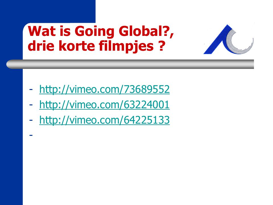Wat is Going Global , drie korte filmpjes