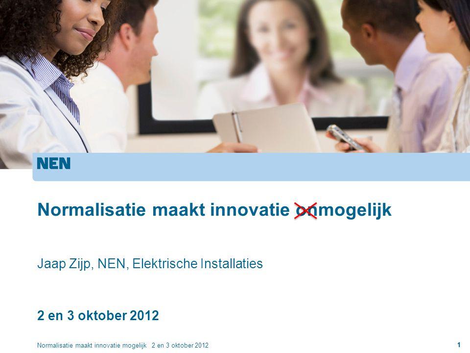 Normalisatie maakt innovatie onmogelijk Jaap Zijp, NEN, Elektrische Installaties 2 en 3 oktober 2012