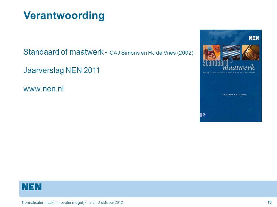 zondag 2 april 2017 Verantwoording. Standaard of maatwerk - CAJ Simons en HJ de Vries (2002) Jaarverslag NEN 2011.
