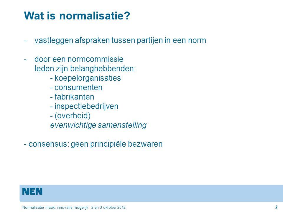 Wat is normalisatie vastleggen afspraken tussen partijen in een norm