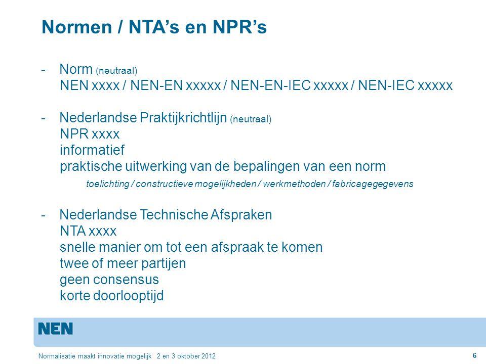 Normen / NTA's en NPR's Norm (neutraal)
