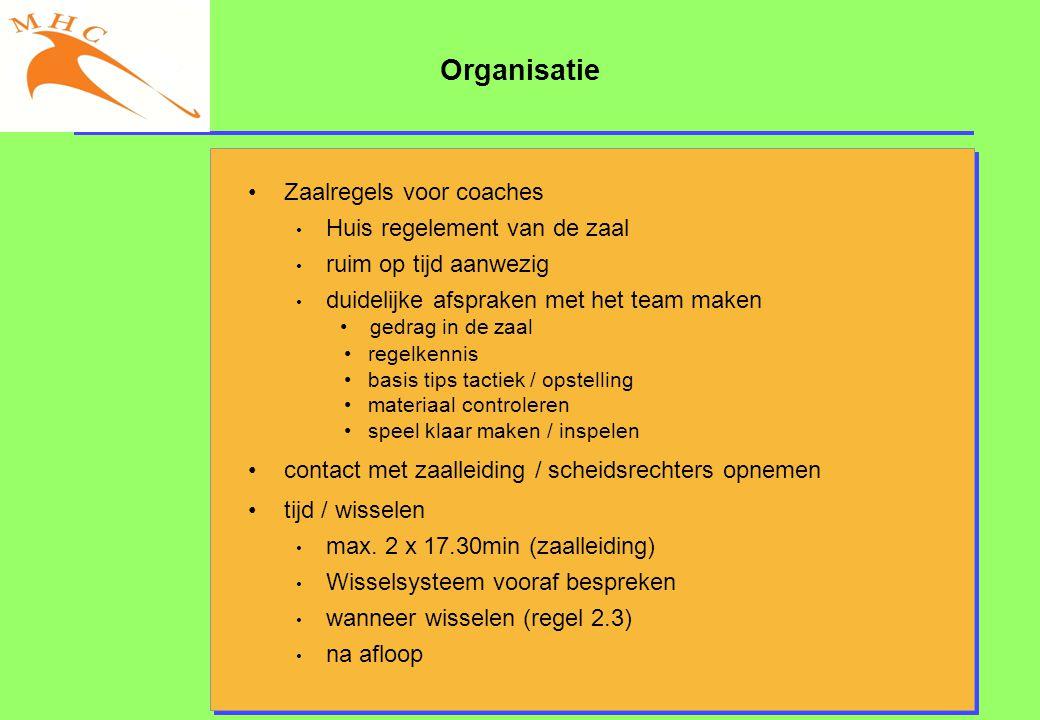 Organisatie Zaalregels voor coaches Huis regelement van de zaal
