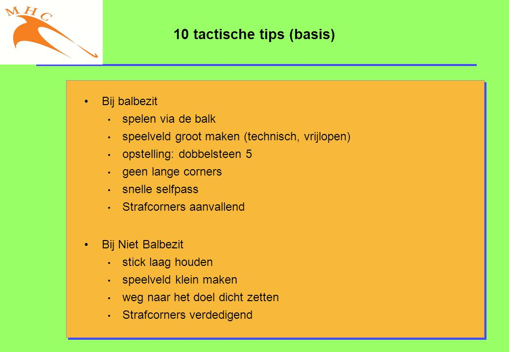 10 tactische tips (basis)