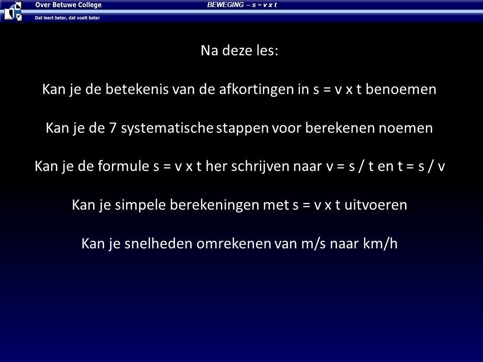 Kan je de betekenis van de afkortingen in s = v x t benoemen