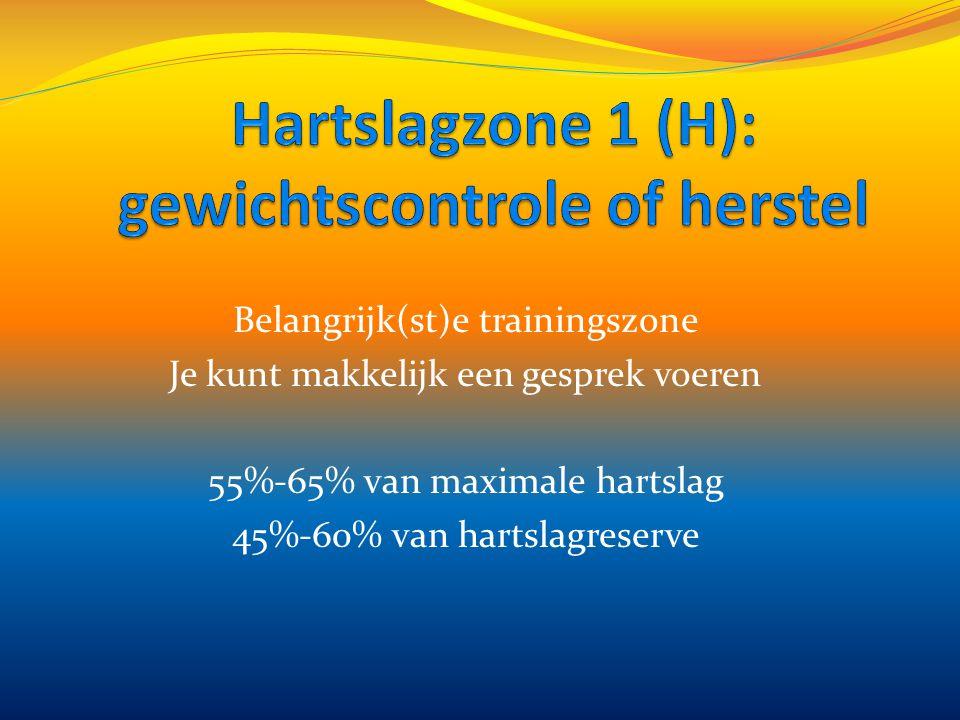 Hartslagzone 1 (H): gewichtscontrole of herstel
