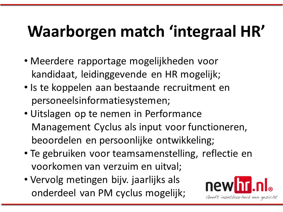 Waarborgen match 'integraal HR'
