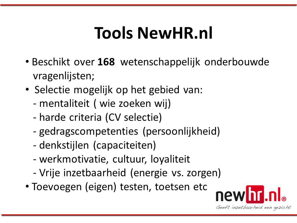 Tools NewHR.nl Beschikt over 168 wetenschappelijk onderbouwde vragenlijsten;