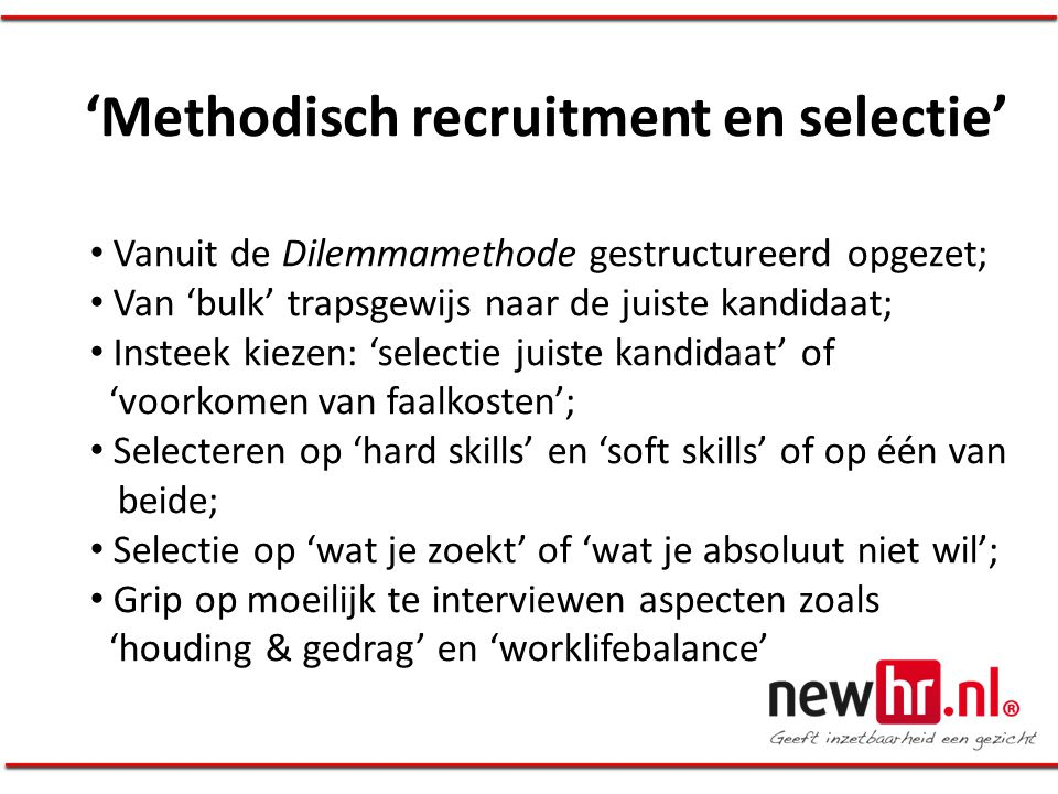 'Methodisch recruitment en selectie'
