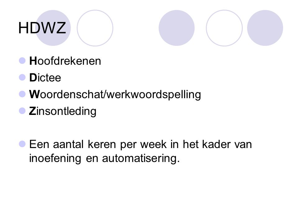 HDWZ Hoofdrekenen Dictee Woordenschat/werkwoordspelling Zinsontleding