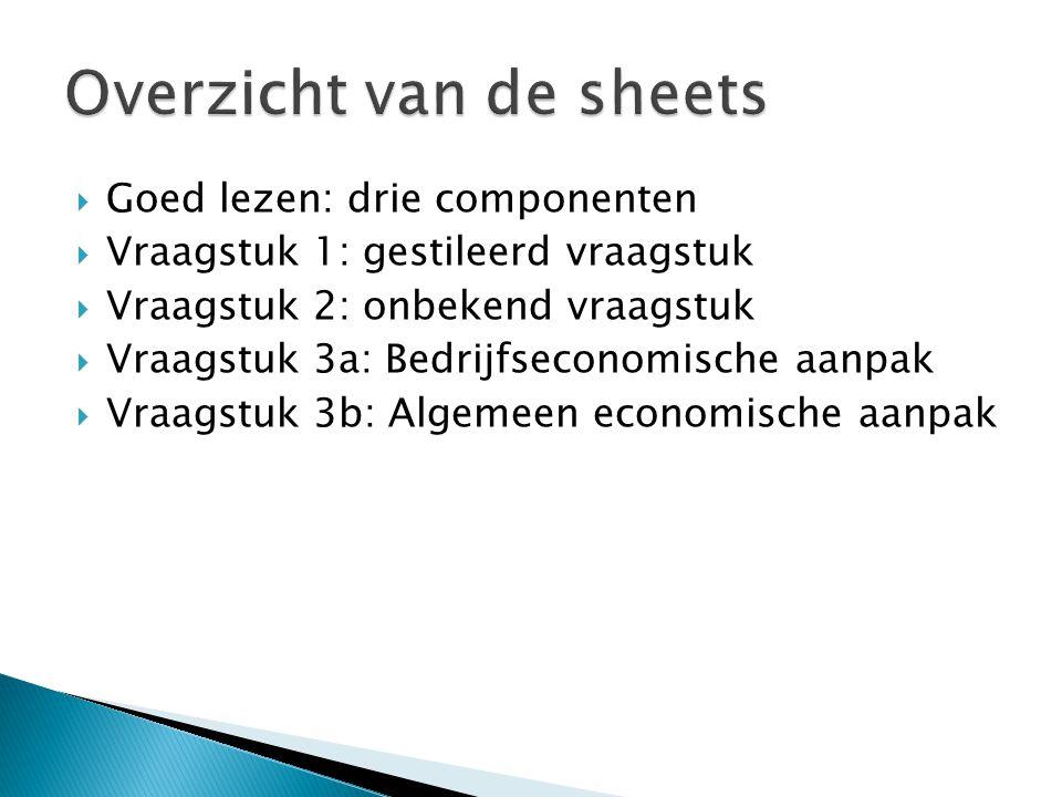 Overzicht van de sheets