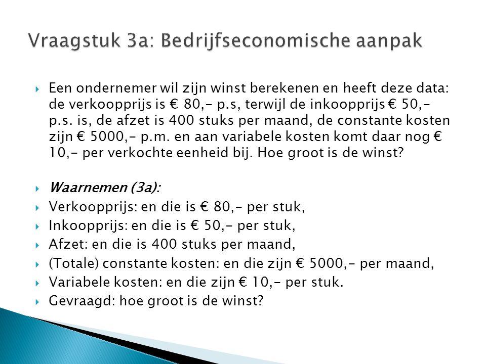 Vraagstuk 3a: Bedrijfseconomische aanpak