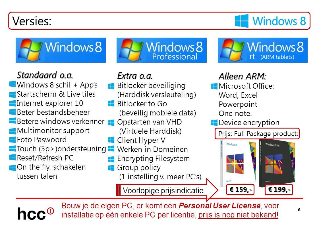 Versies: Standaard o.a. Extra o.a. Alleen ARM: Windows 8 schil + App's