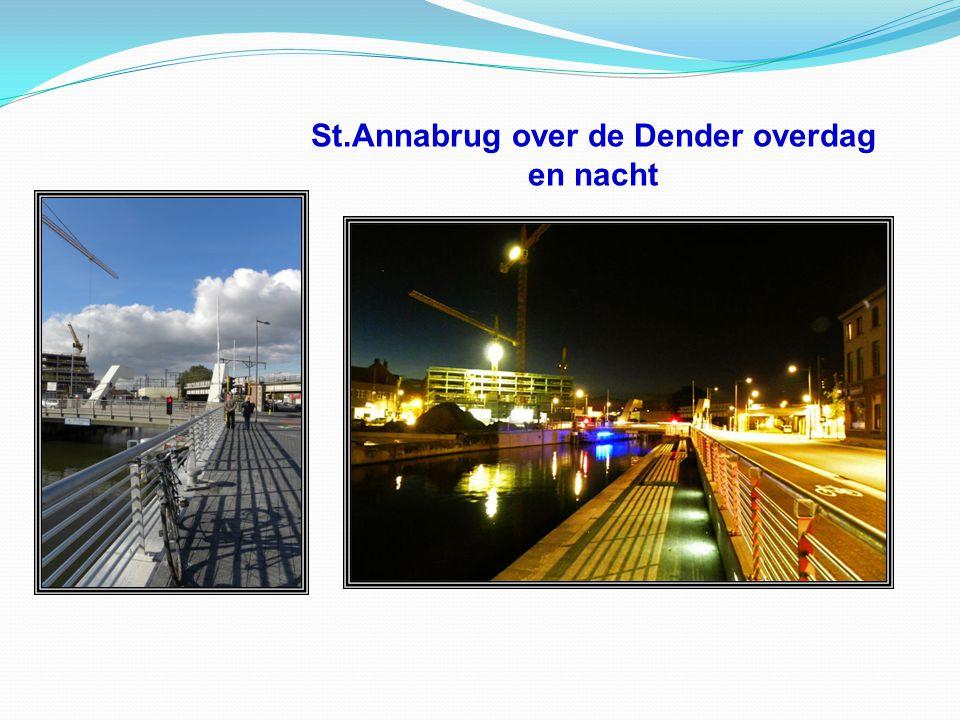 St.Annabrug over de Dender overdag en nacht