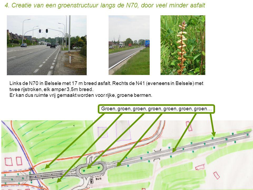 4. Creatie van een groenstructuur langs de N70, door veel minder asfalt