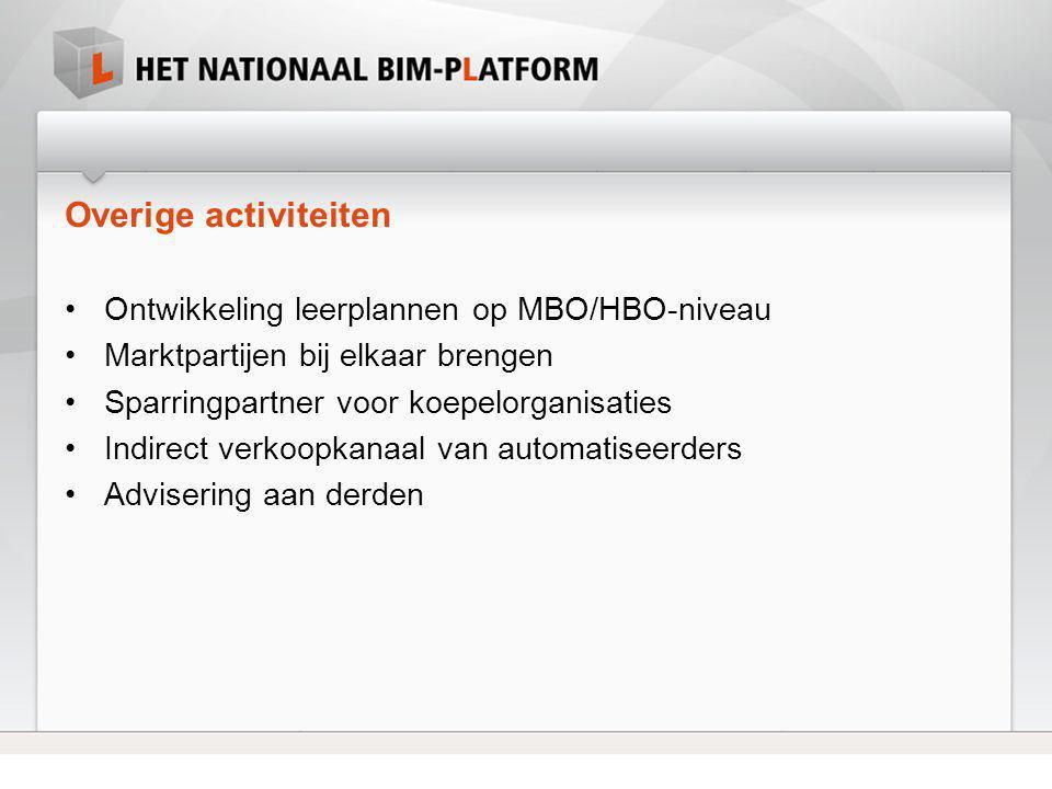 Overige activiteiten Ontwikkeling leerplannen op MBO/HBO-niveau
