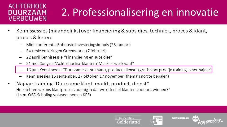 2. Professionalisering en innovatie