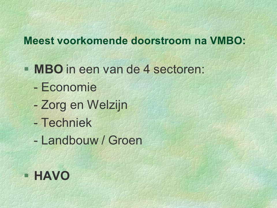 Meest voorkomende doorstroom na VMBO: