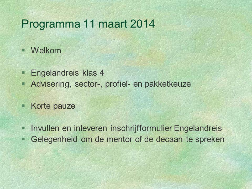 Programma 11 maart 2014 Welkom Engelandreis klas 4