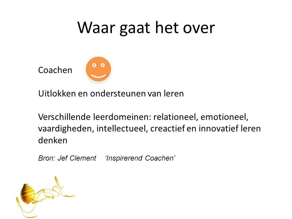 Waar gaat het over Coachen Uitlokken en ondersteunen van leren