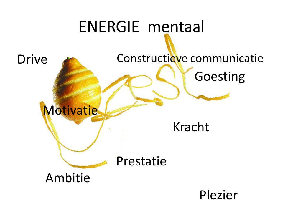 ENERGIE mentaal Drive Goesting Motivatie Kracht Prestatie Ambitie