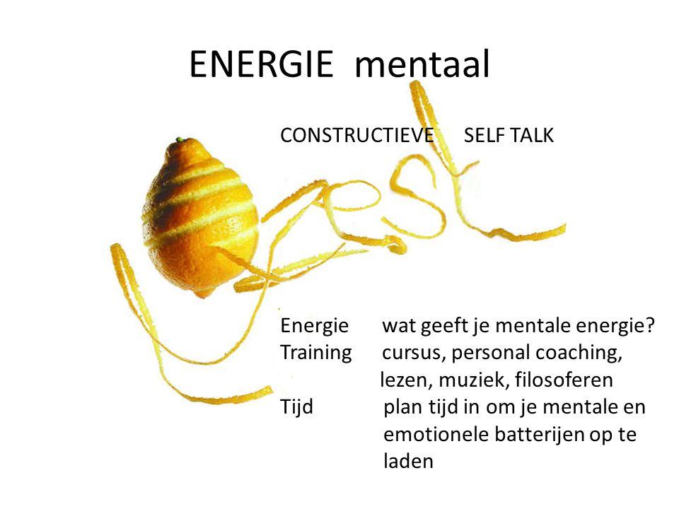 ENERGIE mentaal CONSTRUCTIEVE SELF TALK