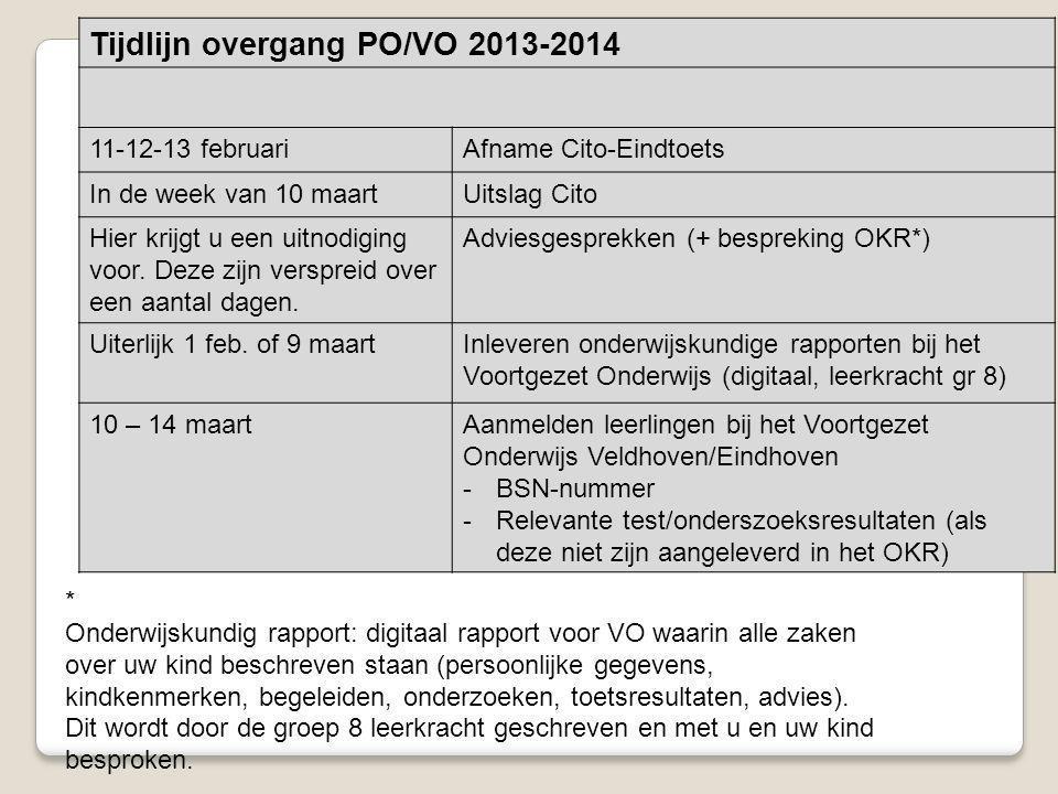 Tijdlijn overgang PO/VO 2013-2014