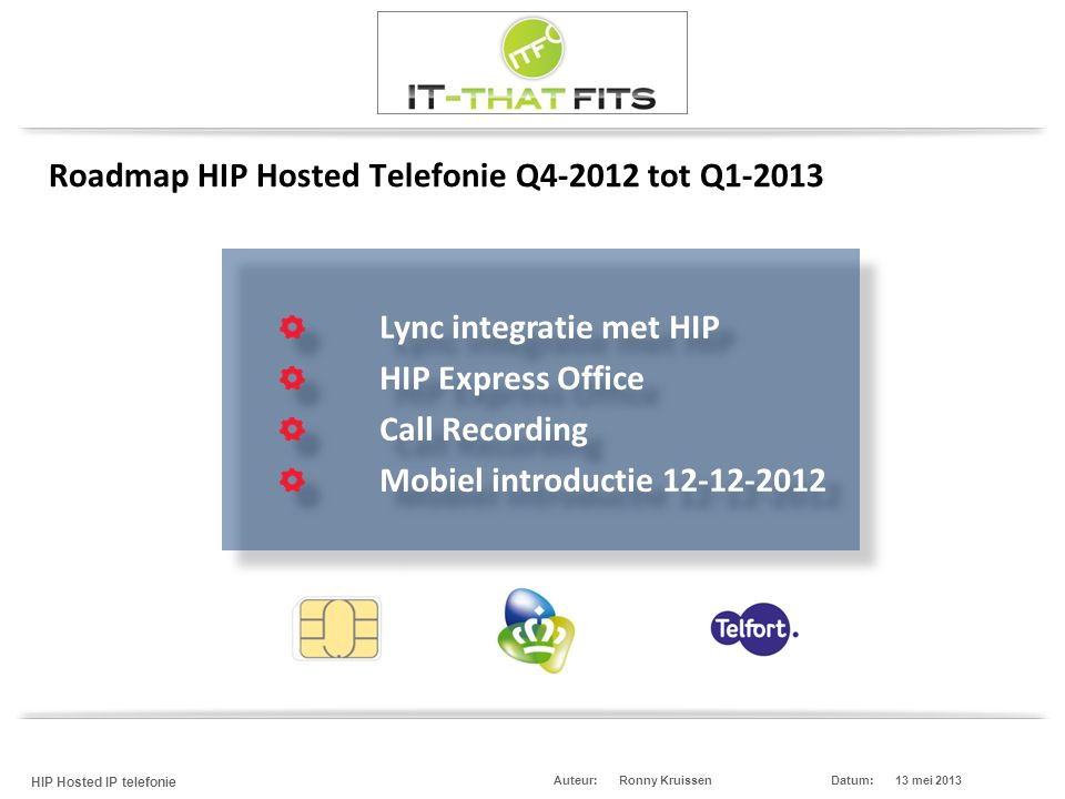 Roadmap HIP Hosted Telefonie Q4-2012 tot Q1-2013