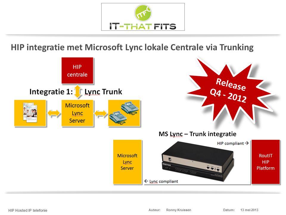 HIP integratie met Microsoft Lync lokale Centrale via Trunking