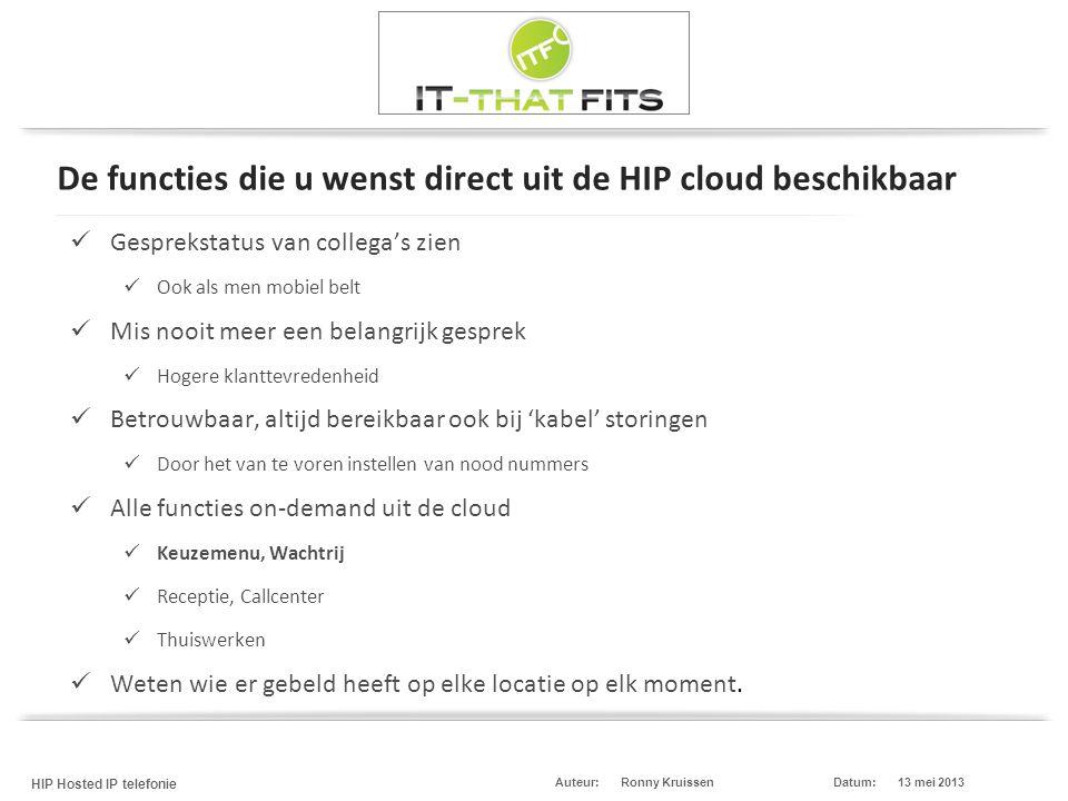 De functies die u wenst direct uit de HIP cloud beschikbaar