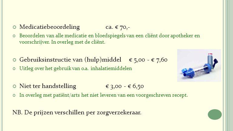 Medicatiebeoordeling ca. € 70,-