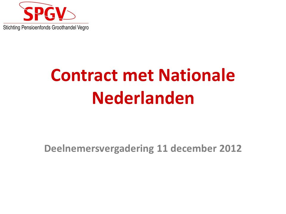 Contract met Nationale Nederlanden
