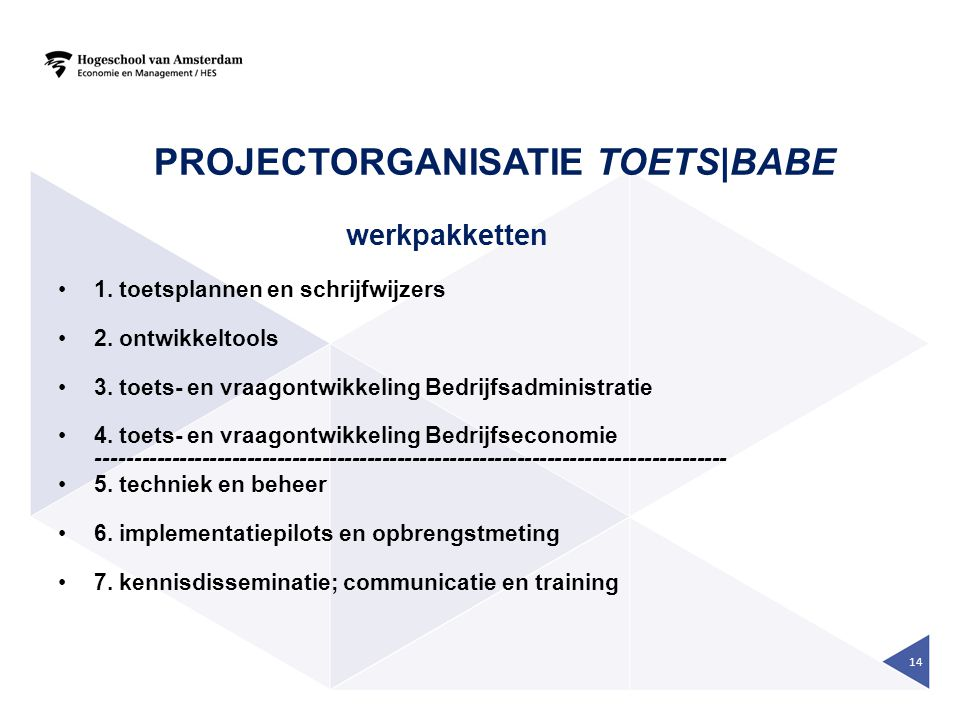 Projectorganisatie Toets|BaBe