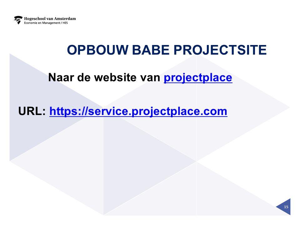 Opbouw BaBe projectsite
