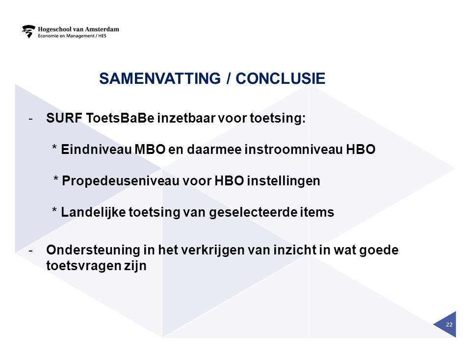 Samenvatting / conclusie