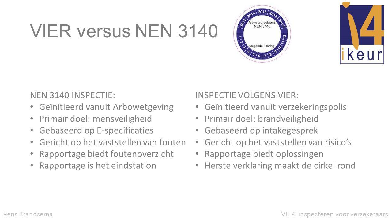 VIER versus NEN 3140 NEN 3140 INSPECTIE: