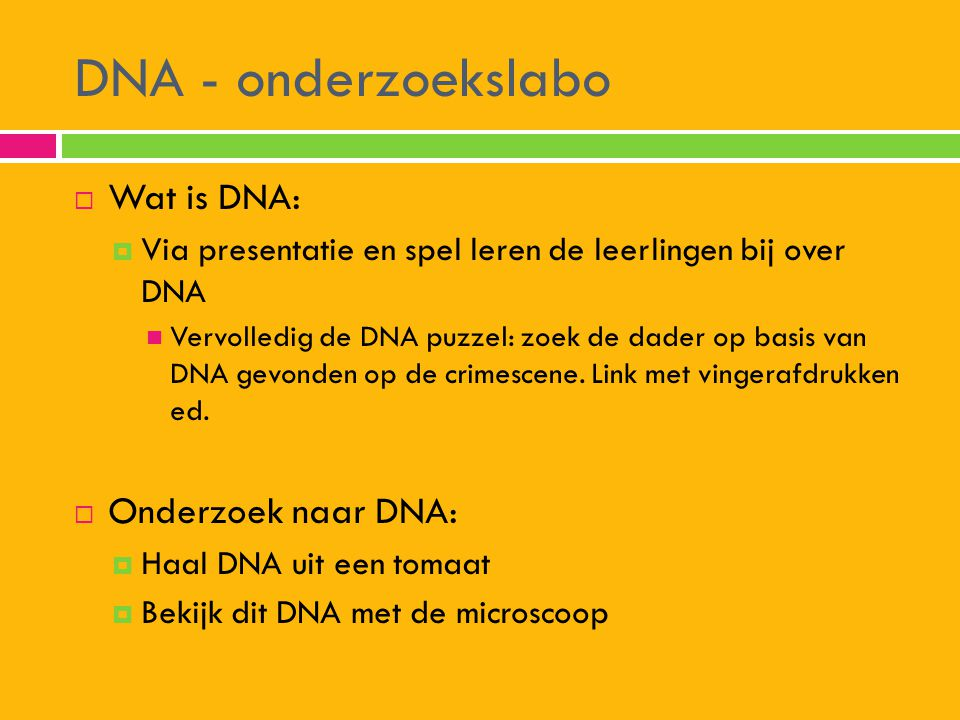 DNA - onderzoekslabo Wat is DNA: Onderzoek naar DNA: