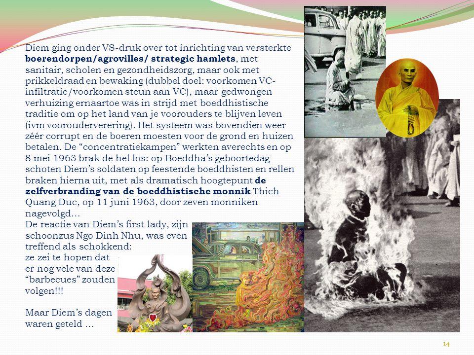 Diem ging onder VS-druk over tot inrichting van versterkte boerendorpen/agrovilles/ strategic hamlets, met sanitair, scholen en gezondheidszorg, maar ook met prikkeldraad en bewaking (dubbel doel: voorkomen VC-infiltratie/voorkomen steun aan VC), maar gedwongen verhuizing ernaartoe was in strijd met boeddhistische traditie om op het land van je voorouders te blijven leven (ivm voorouderverering). Het systeem was bovendien weer zéér corrupt en de boeren moesten voor de grond en huizen betalen. De concentratiekampen werkten averechts en op 8 mei 1963 brak de hel los: op Boeddha's geboortedag schoten Diem's soldaten op feestende boeddhisten en rellen braken hierna uit, met als dramatisch hoogtepunt de zelfverbranding van de boeddhistische monnik Thich Quang Duc, op 11 juni 1963, door zeven monniken nagevolgd…