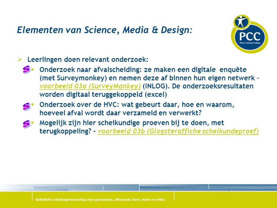 Elementen van Science, Media & Design:
