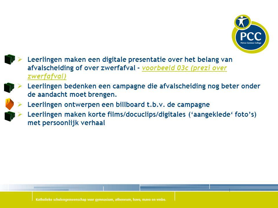 Leerlingen maken een digitale presentatie over het belang van afvalscheiding of over zwerfafval - voorbeeld 03c (prezi over zwerfafval)