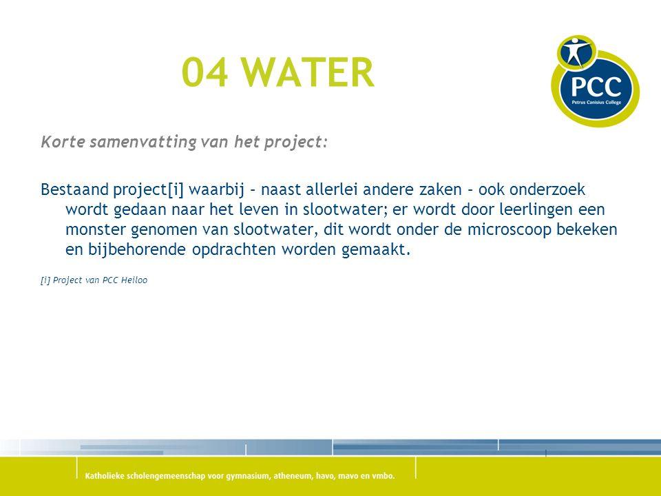 04 WATER Korte samenvatting van het project:
