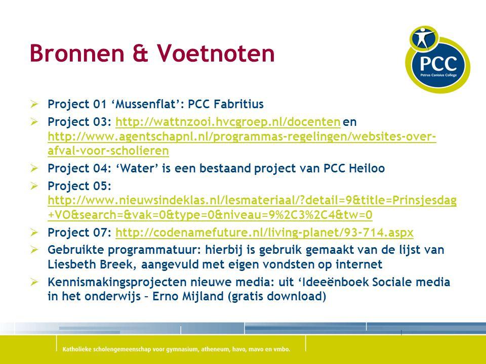 Bronnen & Voetnoten Project 01 'Mussenflat': PCC Fabritius