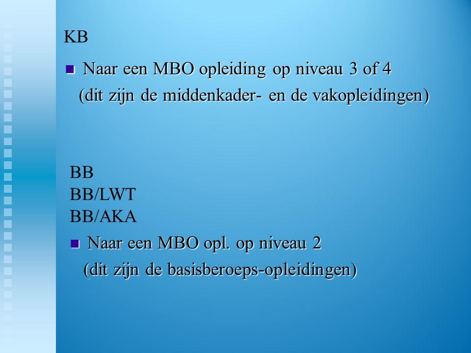 KB Naar een MBO opleiding op niveau 3 of 4. (dit zijn de middenkader- en de vakopleidingen) BB BB/LWT BB/AKA.